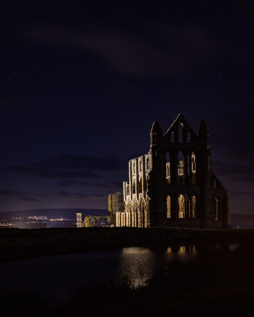 whitby abbey at night, whitby abbey, illuminated, lit up, yorkshire, lights, holiday accomodation, north, yorkshire